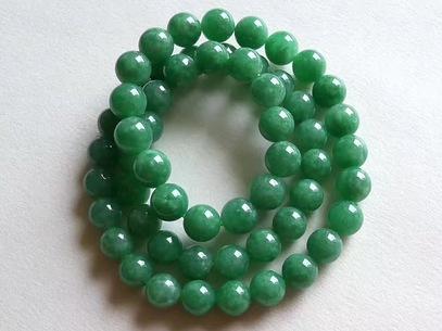 满绿翡翠圆珠项链 56颗 88.35g