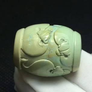 原矿高瓷嫩绿精雕五福临门26.5x20.6mm16.5g